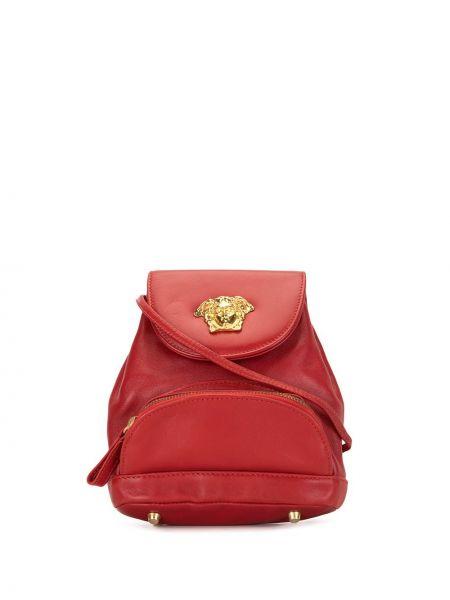 Красная сумка через плечо металлическая на молнии с карманами Versace Pre-owned