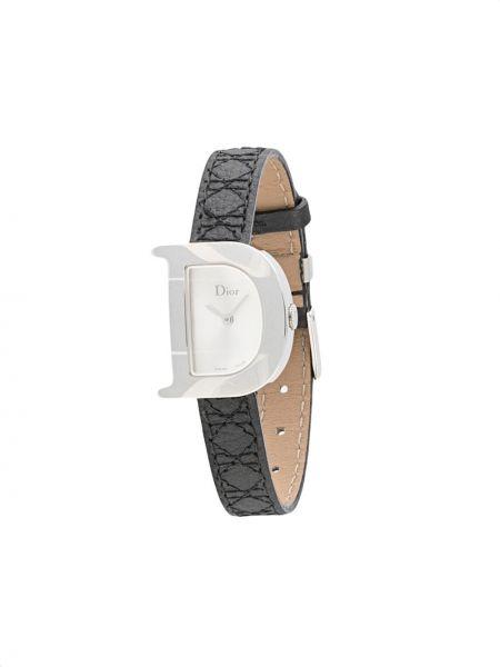 Z paskiem skórzany czarny zegarek na skórzanym pasku z kwarcem Christian Dior
