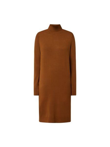 Brązowa sukienka z długimi rękawami Vila