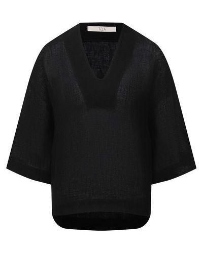 Льняная блузка - черная Tela