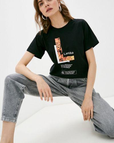 Черная футболка с короткими рукавами Lanicka