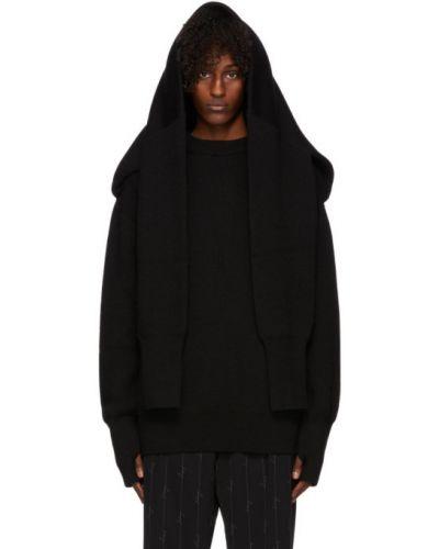 Wełniany czarny sweter z kołnierzem z mankietami Balenciaga