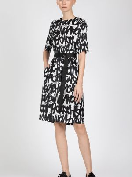 Платье с поясом с рукавами с вырезом Vassa&co