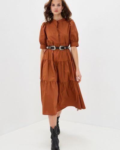 Коричневое прямое платье Sela
