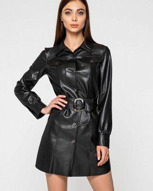 Платье кожаное черное Itelle