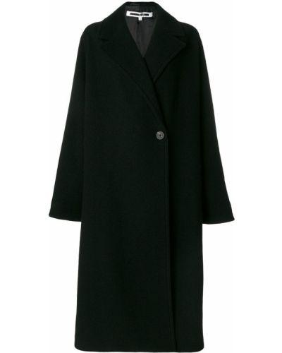 Шерстяное черное длинное пальто с капюшоном Mcq Alexander Mcqueen