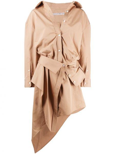 Długo brązowy bawełna asymetryczny sukienka Alexander Wang