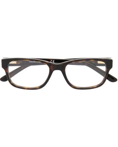 Коричневые очки прямоугольные в клетку Polo Ralph Lauren