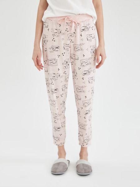 Розовая хлопковая пижама с вырезом Defacto
