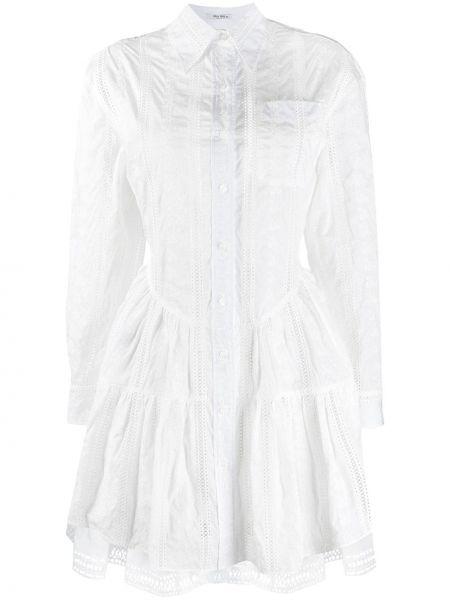 Платье с вышивкой на пуговицах с воротником с карманами Miu Miu