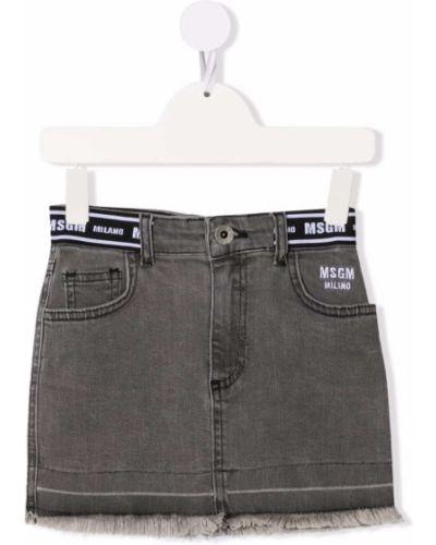 Spódnica jeansowa z paskiem - niebieska Msgm Kids