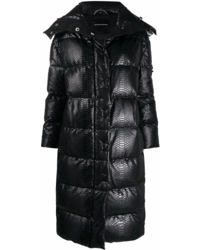 С рукавами черное стеганое пальто с перьями с потайной застежкой Ermanno Scervino