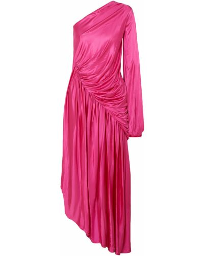 Różowa sukienka wieczorowa asymetryczna z wiskozy Halpern