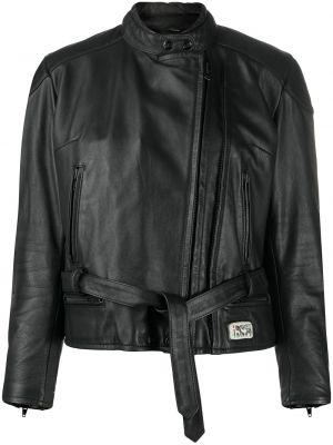 Черный кожаный пиджак с поясом A.n.g.e.l.o. Vintage Cult