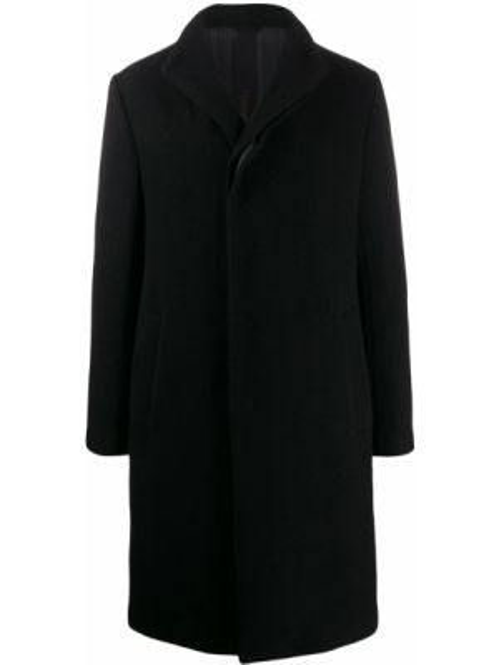 Черное шерстяное длинное пальто с воротником на пуговицах Forme D'expression