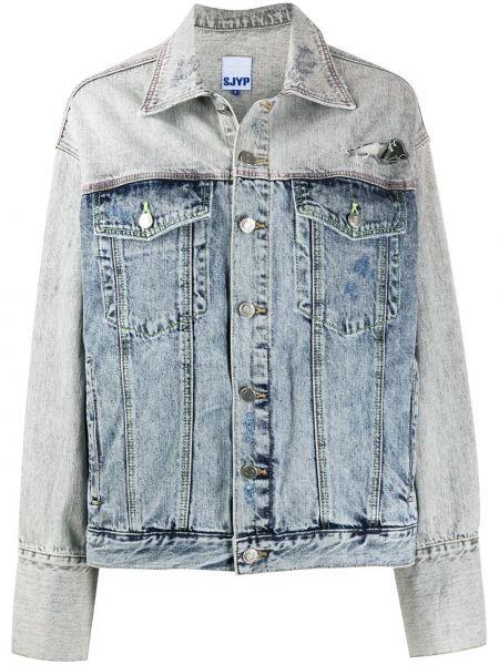 Синяя джинсовая куртка с нашивками с воротником Sjyp