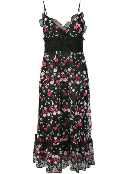 Czarna sukienka z falbanami koronkowa Giamba