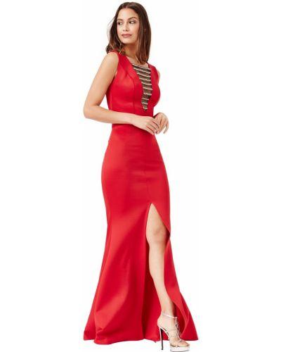 Красное вечернее платье со стразами с вырезом City Goddess