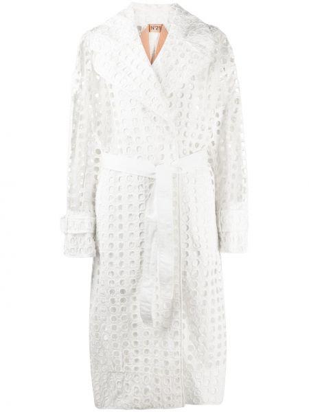 Прямое белое длинное пальто без застежки N°21