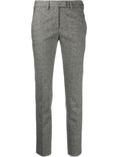 Шерстяные серые укороченные брюки с потайной застежкой Incotex
