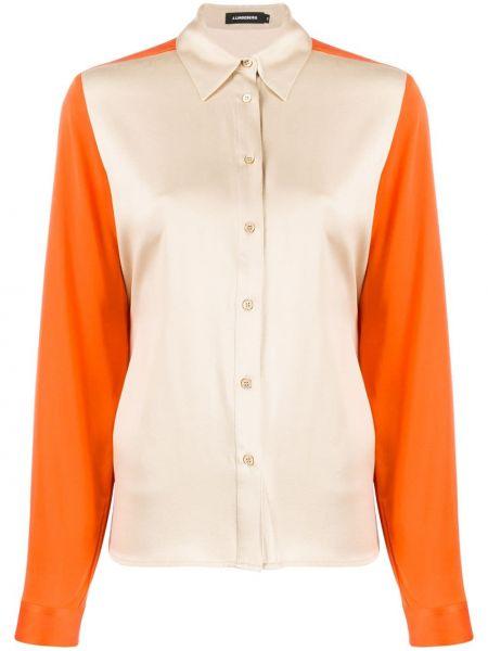Приталенная рубашка с длинным рукавом - бежевая J.lindeberg