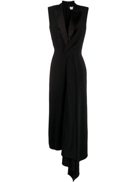 Асимметричное платье миди с V-образным вырезом с драпировкой без рукавов Alexander Mcqueen
