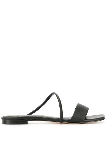 Черные открытые босоножки с открытым носком на плоской подошве Mara & Mine