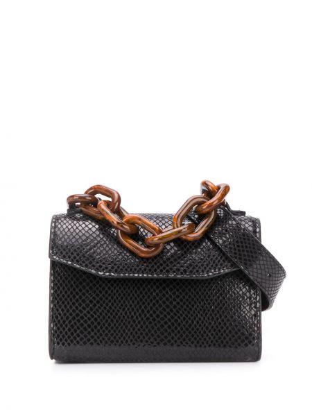 Кожаный черный ремень с поясом со шлицей Ganni