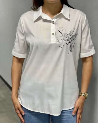 Блузка с короткими рукавами - белая Fusion