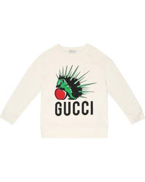 Bluza z kapturem biały zielony Gucci Kids