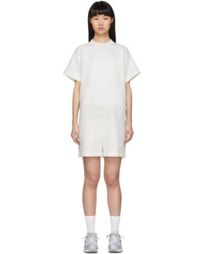 Трикотажный с рукавами белый комбинезон с шортами Sacai