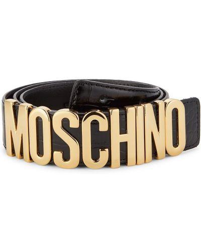 Кожаный ремень - черный Moschino