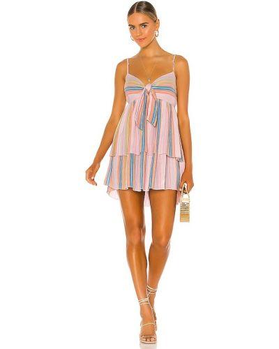 Льняное розовое платье мини с подкладкой Saylor