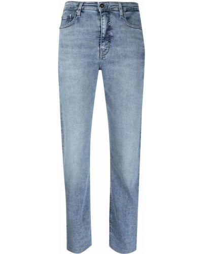 Синие хлопковые джинсы стрейч с нашивками Calvin Klein