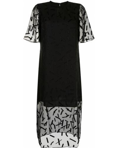 Платье с вышивкой - черное Armani Exchange