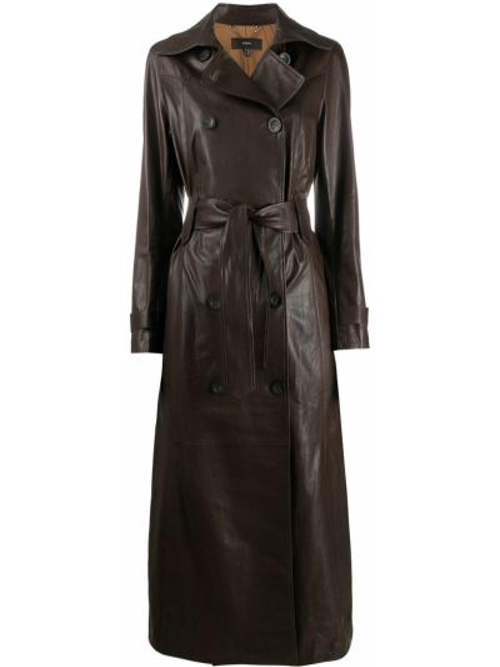 С рукавами коричневое длинное пальто свободного кроя из натуральной кожи Arma