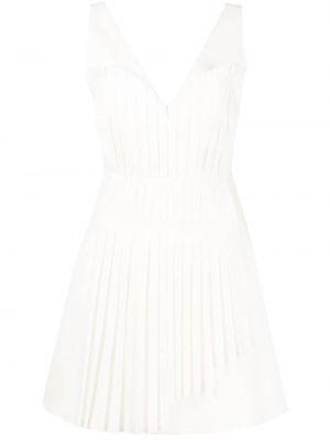 Белое платье мини без рукавов с оборками Alexis