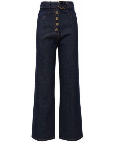 Синие широкие джинсы с карманами свободного кроя Rejina Pyo
