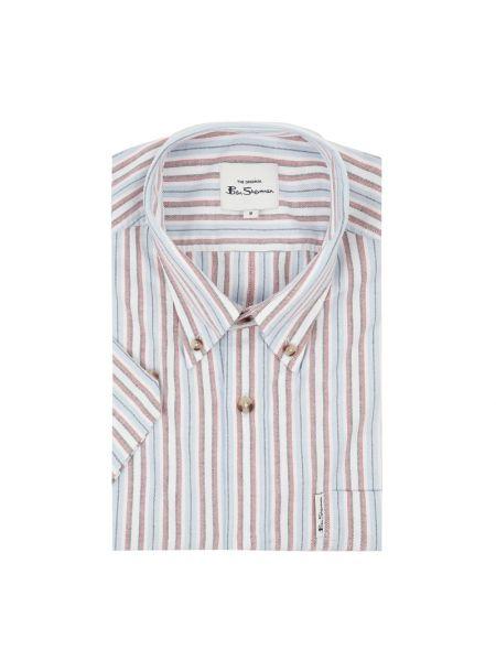 Koszula krótki rękaw bawełniana w paski Ben Sherman