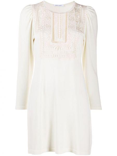 Белое ажурное платье миди с оборками с вырезом Alberta Ferretti