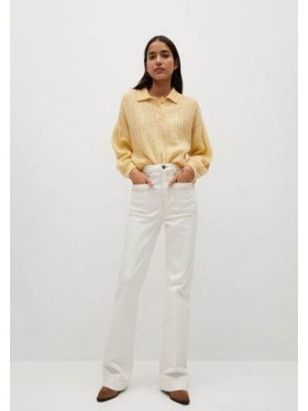 T-shirt dzianinowa - żółta Mango