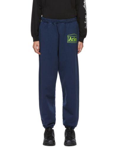Флисовые синие брюки с карманами Aries