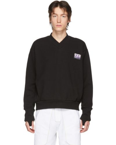 Черный длинный свитер с воротником с V-образным вырезом Boramy Viguier