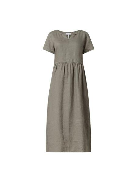 Lniana sukienka midi - zielona Cinque