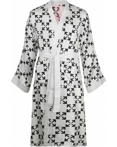 Домашний шелковый белый халат Off-white