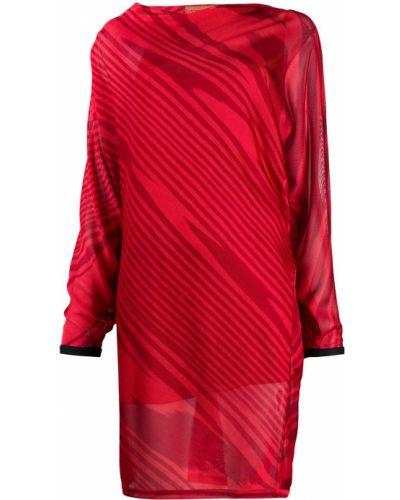 Трикотажное красное платье макси с вырезом Missoni
