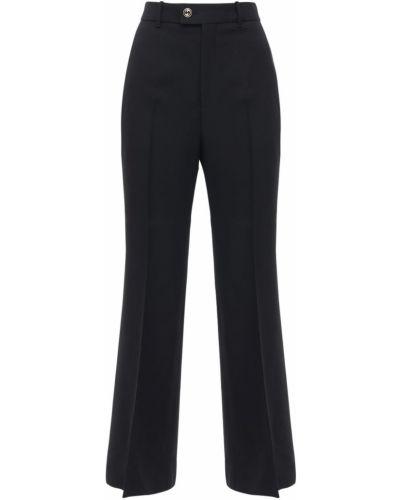 Czarny wełniany rozbłysnął przycięte spodnie Gucci