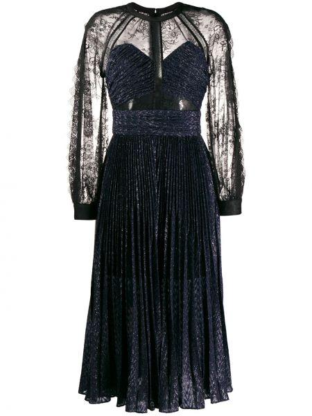 Платье макси с завышенной талией плиссированное Self-portrait