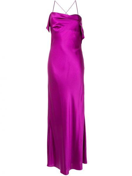 Шелковое розовое коктейльное платье на бретелях с драпировкой Michelle Mason