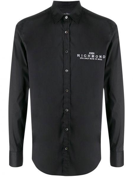 Koszula z długim rękawem z logo czarna John Richmond
